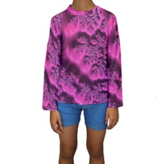 Fractal Artwork Pink Purple Elegant Kids  Long Sleeve Swimwear