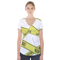 Keep Out Police Line Yellow Cross Entry Short Sleeve Front Detail Top