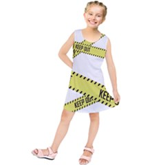 Keep Out Police Line Yellow Cross Entry Kids  Tunic Dress