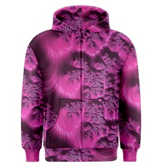 Fractal Artwork Pink Purple Elegant Men s Zipper Hoodie