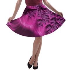 Fractal Artwork Pink Purple Elegant A Line Skater Skirt