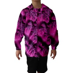 Fractal Artwork Pink Purple Elegant Hooded Wind Breaker (kids)