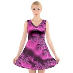 Fractal Artwork Pink Purple Elegant V Neck Sleeveless Skater Dress