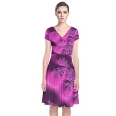 Fractal Artwork Pink Purple Elegant Short Sleeve Front Wrap Dress