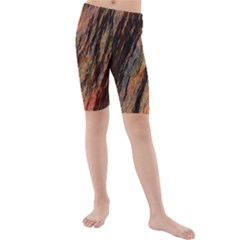 Texture Stone Rock Earth Kids  Mid Length Swim Shorts