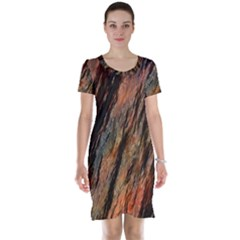 Texture Stone Rock Earth Short Sleeve Nightdress