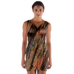 Texture Stone Rock Earth Wrap Front Bodycon Dress
