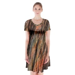 Texture Stone Rock Earth Short Sleeve V-neck Flare Dress