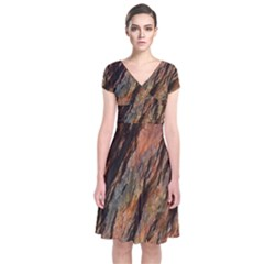 Texture Stone Rock Earth Short Sleeve Front Wrap Dress