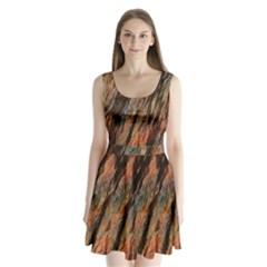Texture Stone Rock Earth Split Back Mini Dress