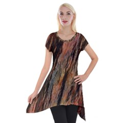 Texture Stone Rock Earth Short Sleeve Side Drop Tunic
