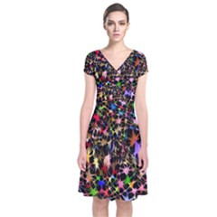Network Integration Intertwined Short Sleeve Front Wrap Dress