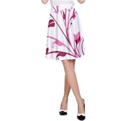 Leaf Pink Floral A-Line Skirt