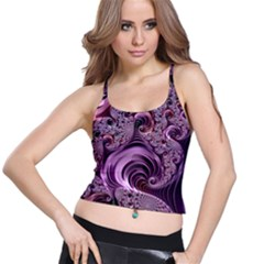 Purple Abstract Art Fractal Art Fractal Spaghetti Strap Bra Top