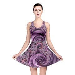 Purple Abstract Art Fractal Art Fractal Reversible Skater Dress