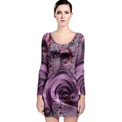 Purple Abstract Art Fractal Art Fractal Long Sleeve Bodycon Dress
