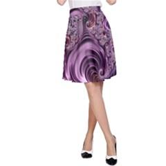 Purple Abstract Art Fractal Art Fractal A Line Skirt