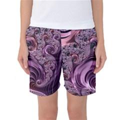 Purple Abstract Art Fractal Art Fractal Women s Basketball Shorts