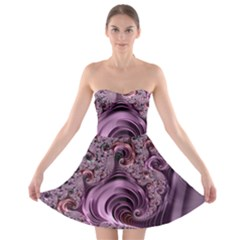 Purple Abstract Art Fractal Art Fractal Strapless Bra Top Dress