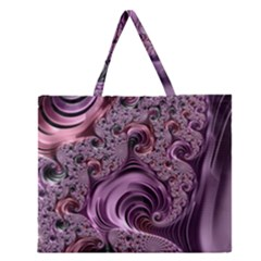 Purple Abstract Art Fractal Art Fractal Zipper Large Tote Bag