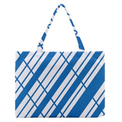 Line Blue Chevron Medium Zipper Tote Bag