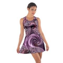 Purple Abstract Art Fractal Art Fractal Cotton Racerback Dress