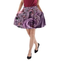 Purple Abstract Art Fractal Art Fractal A Line Pocket Skirt
