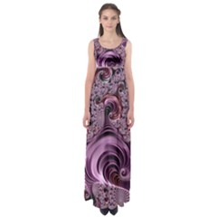 Purple Abstract Art Fractal Art Fractal Empire Waist Maxi Dress