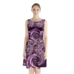 Purple Abstract Art Fractal Art Fractal Sleeveless Chiffon Waist Tie Dress