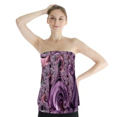 Purple Abstract Art Fractal Art Fractal Strapless Top