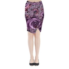 Purple Abstract Art Fractal Art Fractal Midi Wrap Pencil Skirt