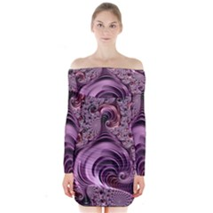 Purple Abstract Art Fractal Art Fractal Long Sleeve Off Shoulder Dress