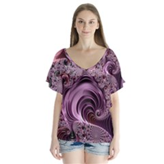 Purple Abstract Art Fractal Art Fractal Flutter Sleeve Top