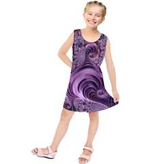 Purple Abstract Art Fractal Art Fractal Kids  Tunic Dress