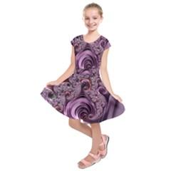 Purple Abstract Art Fractal Art Fractal Kids  Short Sleeve Dress
