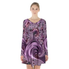 Purple Abstract Art Fractal Art Fractal Long Sleeve Velvet V Neck Dress
