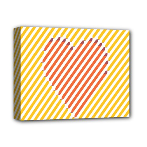 Little Valentine Pink Yellow Deluxe Canvas 14  x 11