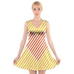Little Valentine Pink Yellow V-Neck Sleeveless Skater Dress