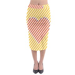 Little Valentine Pink Yellow Midi Pencil Skirt