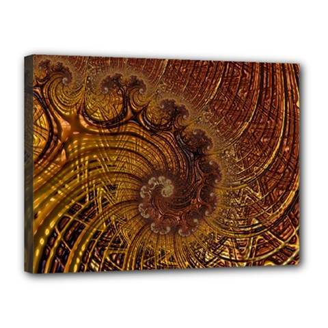 Copper Caramel Swirls Abstract Art Canvas 16  X 12