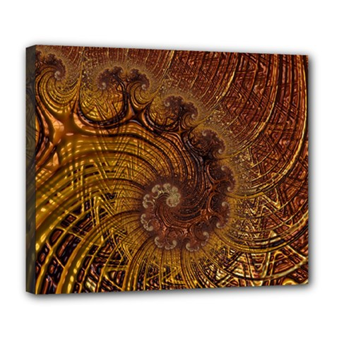 Copper Caramel Swirls Abstract Art Deluxe Canvas 24  X 20