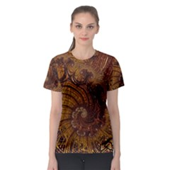 Copper Caramel Swirls Abstract Art Women s Sport Mesh Tee