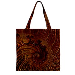 Copper Caramel Swirls Abstract Art Grocery Tote Bag
