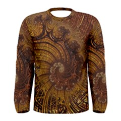 Copper Caramel Swirls Abstract Art Men s Long Sleeve Tee