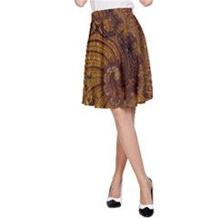 Copper Caramel Swirls Abstract Art A Line Skirt