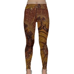 Copper Caramel Swirls Abstract Art Classic Yoga Leggings