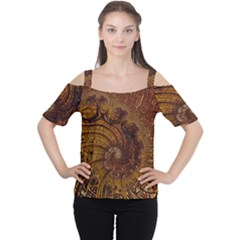 Copper Caramel Swirls Abstract Art Women s Cutout Shoulder Tee