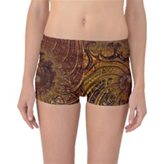 Copper Caramel Swirls Abstract Art Boyleg Bikini Bottoms