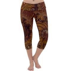 Copper Caramel Swirls Abstract Art Capri Yoga Leggings