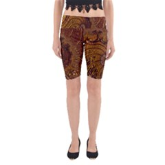 Copper Caramel Swirls Abstract Art Yoga Cropped Leggings
